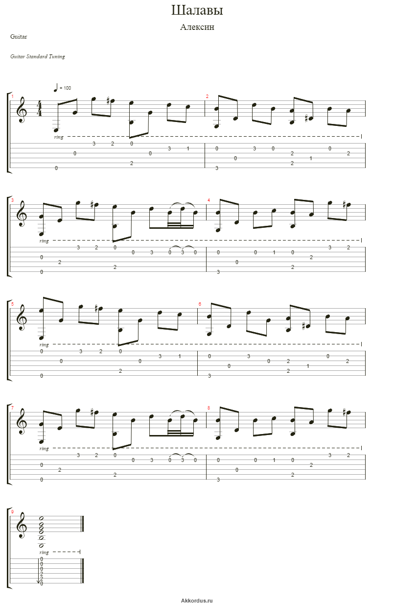 Шалавы акорды